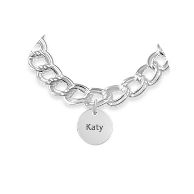 Personalized Disc Charm For Sterling Silver Bracelet -Name
