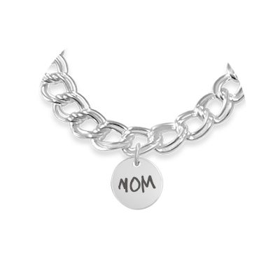Personalized Disc Charm For Sterling Silver Bracelet - Mom