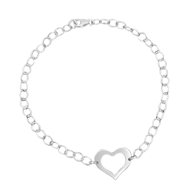 Chain Link Bracelet with Cutout Heart