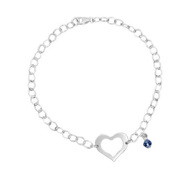 Chain Link Bracelet with Cutout Heart and Blue Swarovski Charm