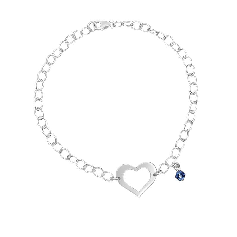Chain Link Bracelet with Cutout Heart and Blue Swarovski Charm