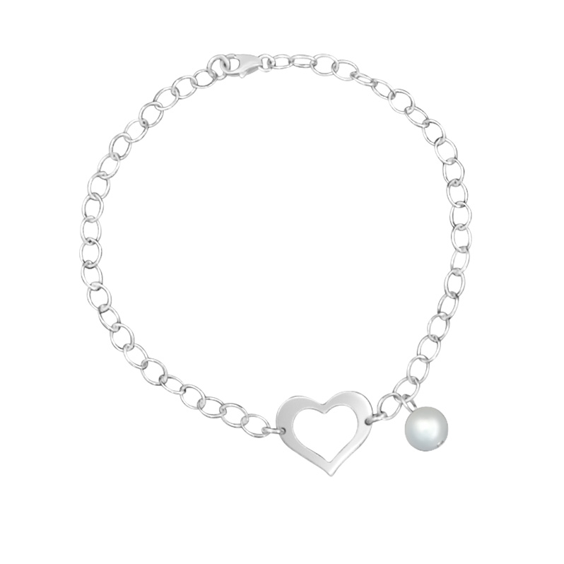 Chain Link Bracelet with Cutout Heart and fresh Water Pearl