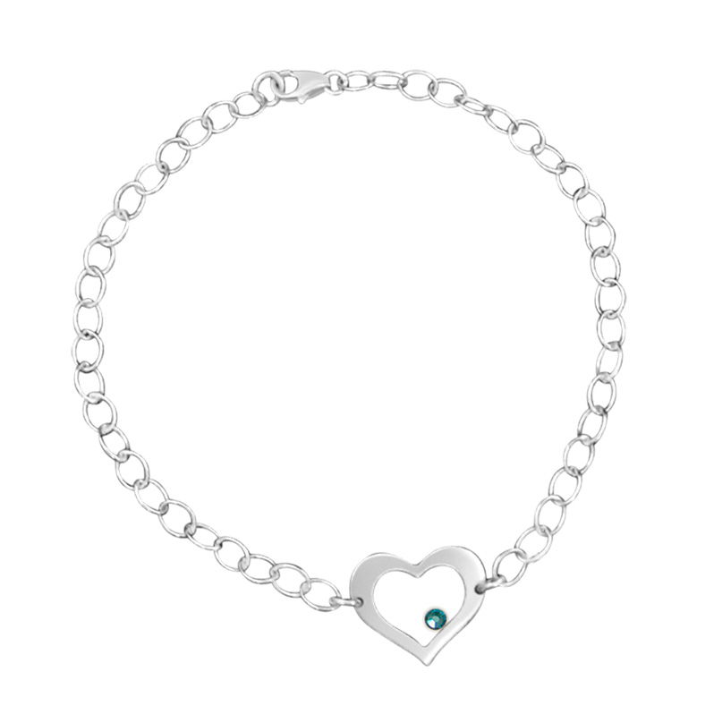 Chain Link Bracelet with Cutout Heart and blue Swarovski crystal