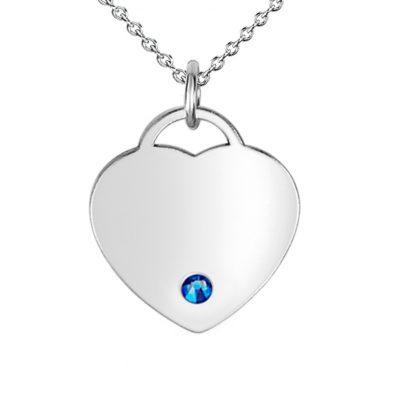 Small Heart Pendant with blue Swarovski Crystal
