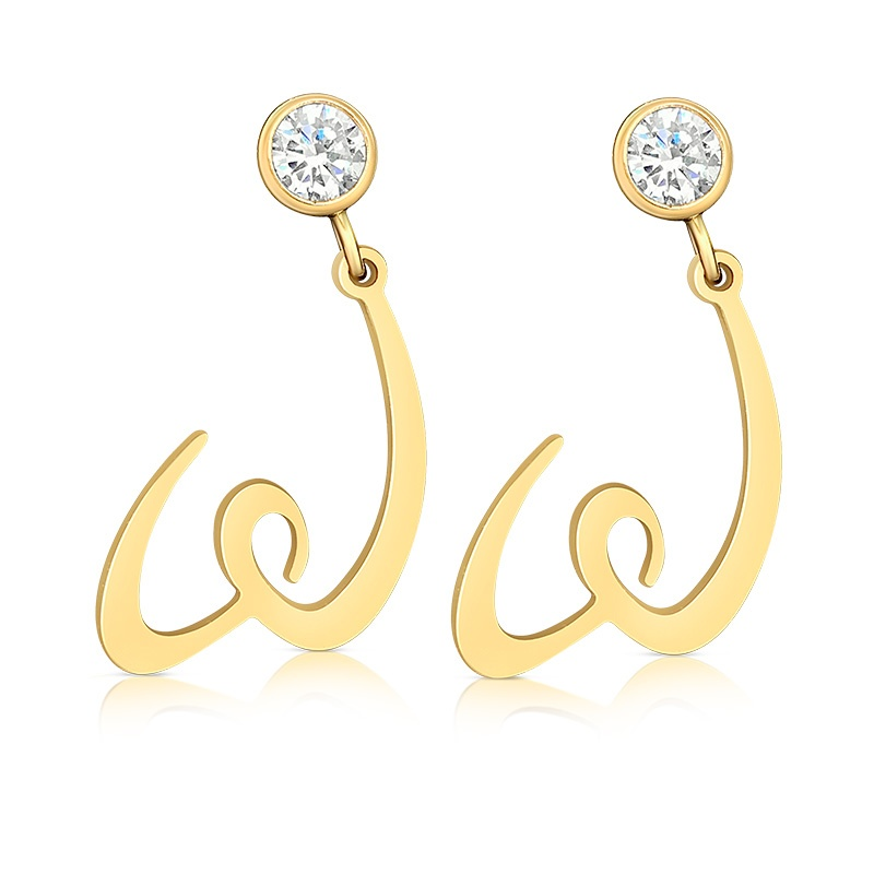 WomenGive Logo Earrings Gold with CZ to benefit WomenGive scholarship program for single mothers