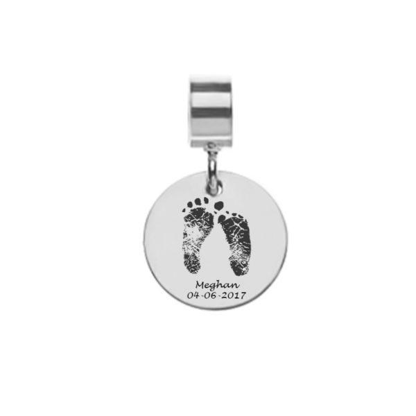Bracelet Charm for Leather Bracelet With Kid's Footprints