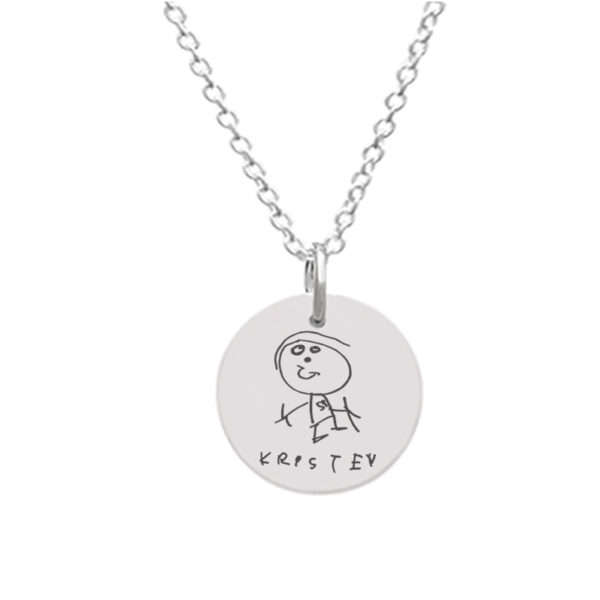 Customizable Disc Pendant - Large with Stickman Drawing