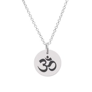 Customizable Disc Pendant - Medium with OM Yoga symbol
