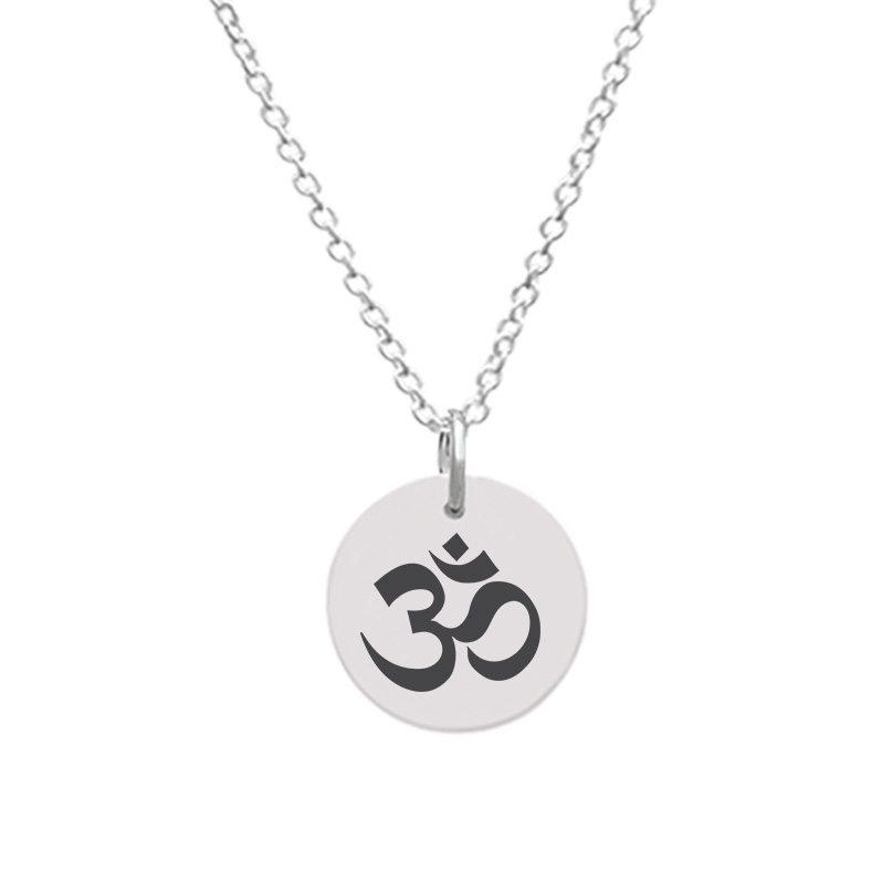 Customizable Disc Pendant - Medium with OM Yoga symbol